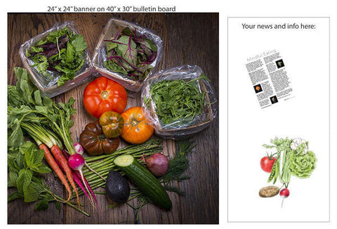 "Farmer's Market Bounty 24"" Square Banner for Bulletin Boards and Walls - Nutrition Education Store"