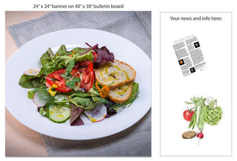 "Dinner Salad 24"" Square Banner for Bulletin Boards and Walls"