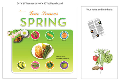 "Spring Season Bulletin Board Banner 24"" x 24"" Square Banner for Bulletin Boards, Walls, and More - Nutrition Education Store"