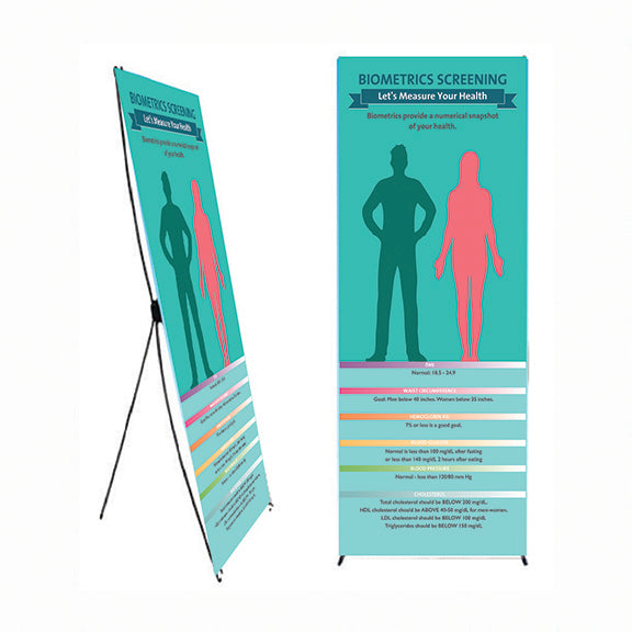 "Measuring Your Biometrics - 24"" x 62"" Banner and Banner Stand - Health Fair Banner - Nutrition Education Store"