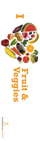 "I Heart Fruits and Veggies Bookmarks pack of 50 2""X7"" - Nutrition Education Store"