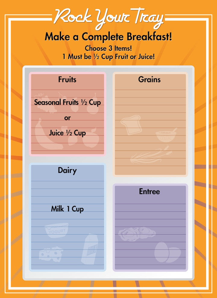 "Erasable School Breakfast Tray Menu Poster 18""X24"" - Nutrition Education Store"
