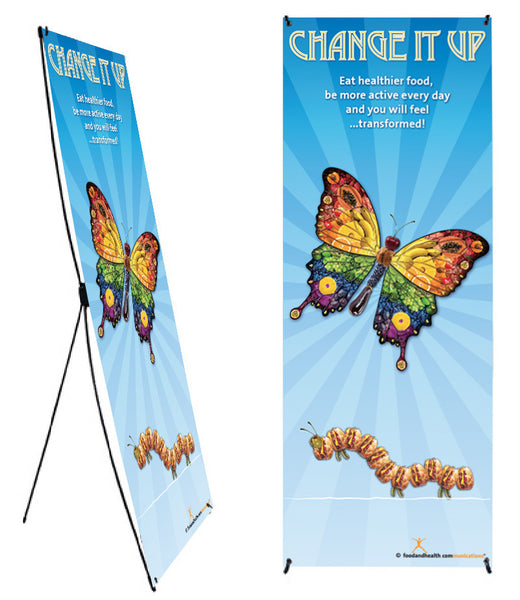 "Custom Change It Up Banner and Stand 24"" X 62"" - Wellness Fair Banner 24"" X 62"" - Add Your Logo To This Health Fair Banner"