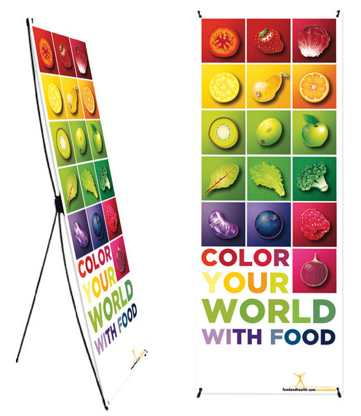 "Custom Color Your World With Food Banner Stand 24"" X 62"" - Wellness Fair Banner 24"" X 62"" - Add Your Logo To This Health Fair Banner - Nutrition Education Store"