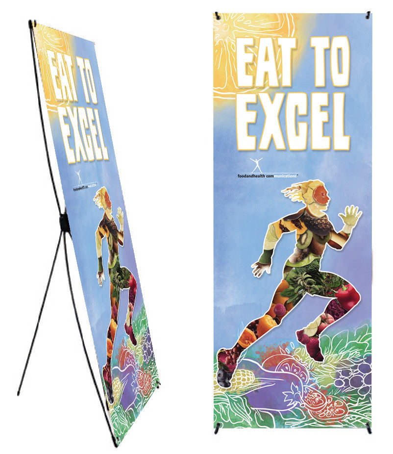 "Custom Eat to Excel Phytoman Banner Stand 24"" X 62"" - Wellness Fair Banner 24"" X 62"" - Add Your Logo To This Health Fair Banner - Nutrition Education Store"