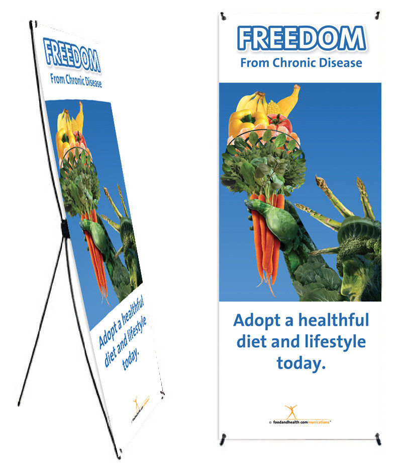 "Custom Freedom from Chronic Disease with Statue of Liberty Banner and Stand 24""X62"" - Add Your Logo To This Health Fair Banner - Nutrition Education Store"