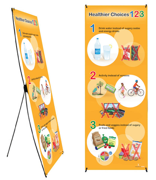 "Healthier Choices 123 Banner Stand 24"" X 62"" - Health Fair Banner - CUSTOMIZE with your logo"