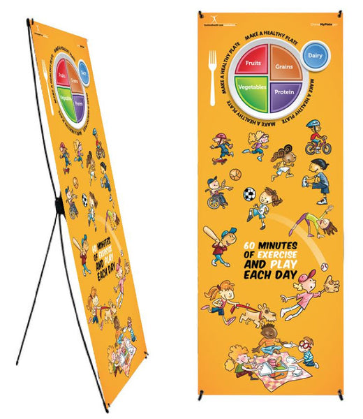 "Custom My Plate Kids Activity Banner Stand 24"" X 62"" - Health Fair Banner Featuring Choose MyPlate 24"" X 62"" - Add Your Logo To This Health Fair Banner"