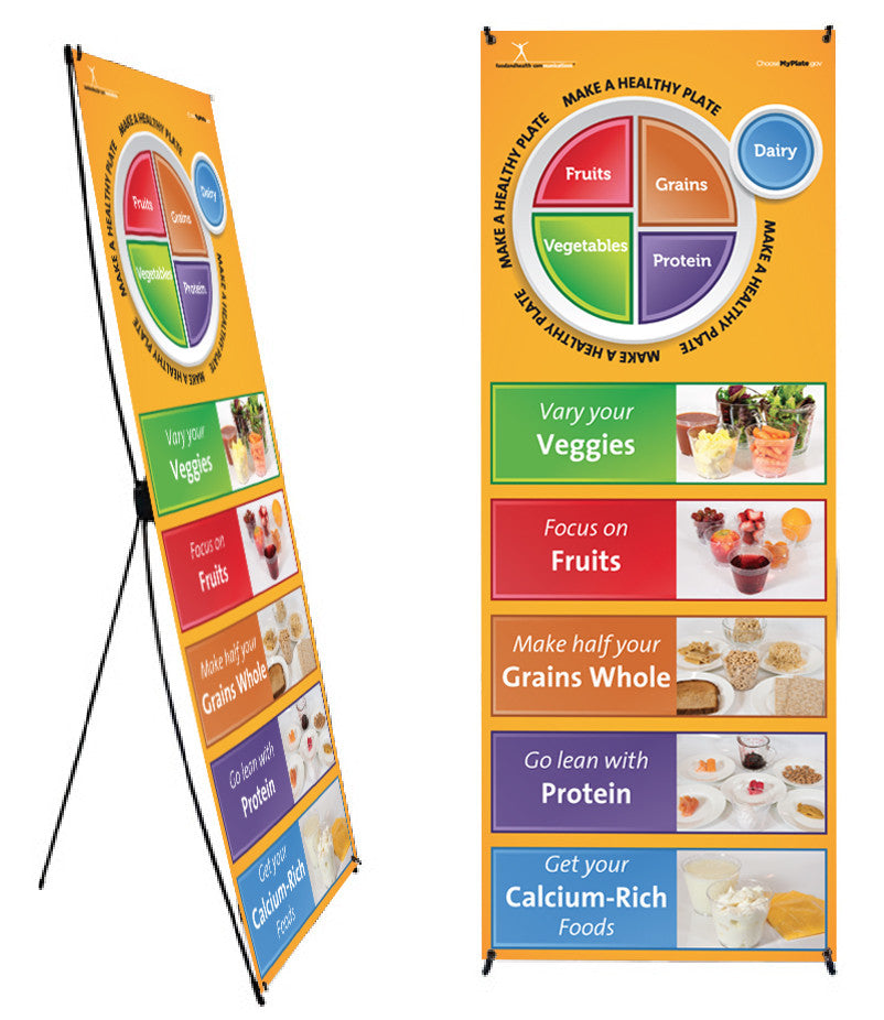 "Custom My Plate Photo Banner Stand 24"" X 62"" - Health Fair Banner Featuring Choose MyPlate 24"" X 62"" - Add Your Logo To This Health Fair Banner - Nutrition Education Store"