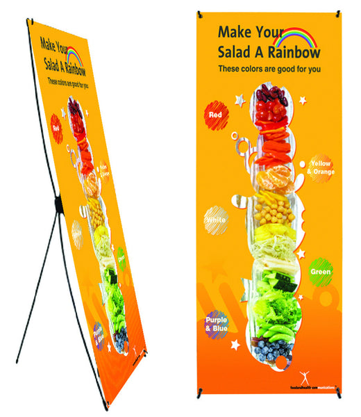 "Custom Eat From the Rainbow Banner Stand 24"" X 62"" - Wellness Fair Banner 24"" X 62"" - Add Your Logo To This Health Fair Banner"