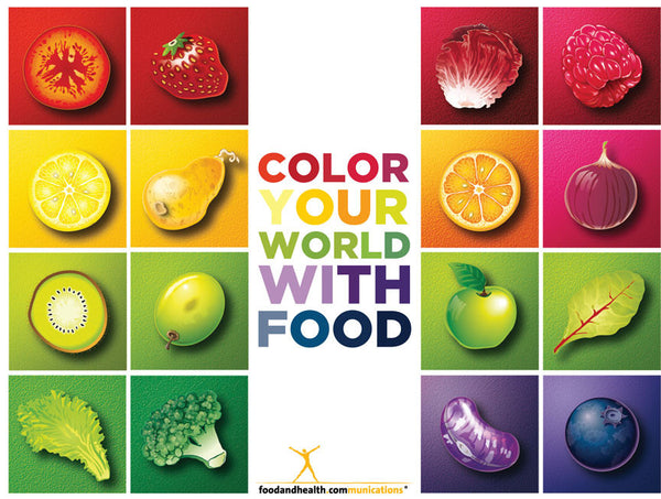 "Custom Color Your World With Food Banner 48"" X 36"" Vinyl - Add Your Logo To This Health Fair Banner - Nutrition Education Store"