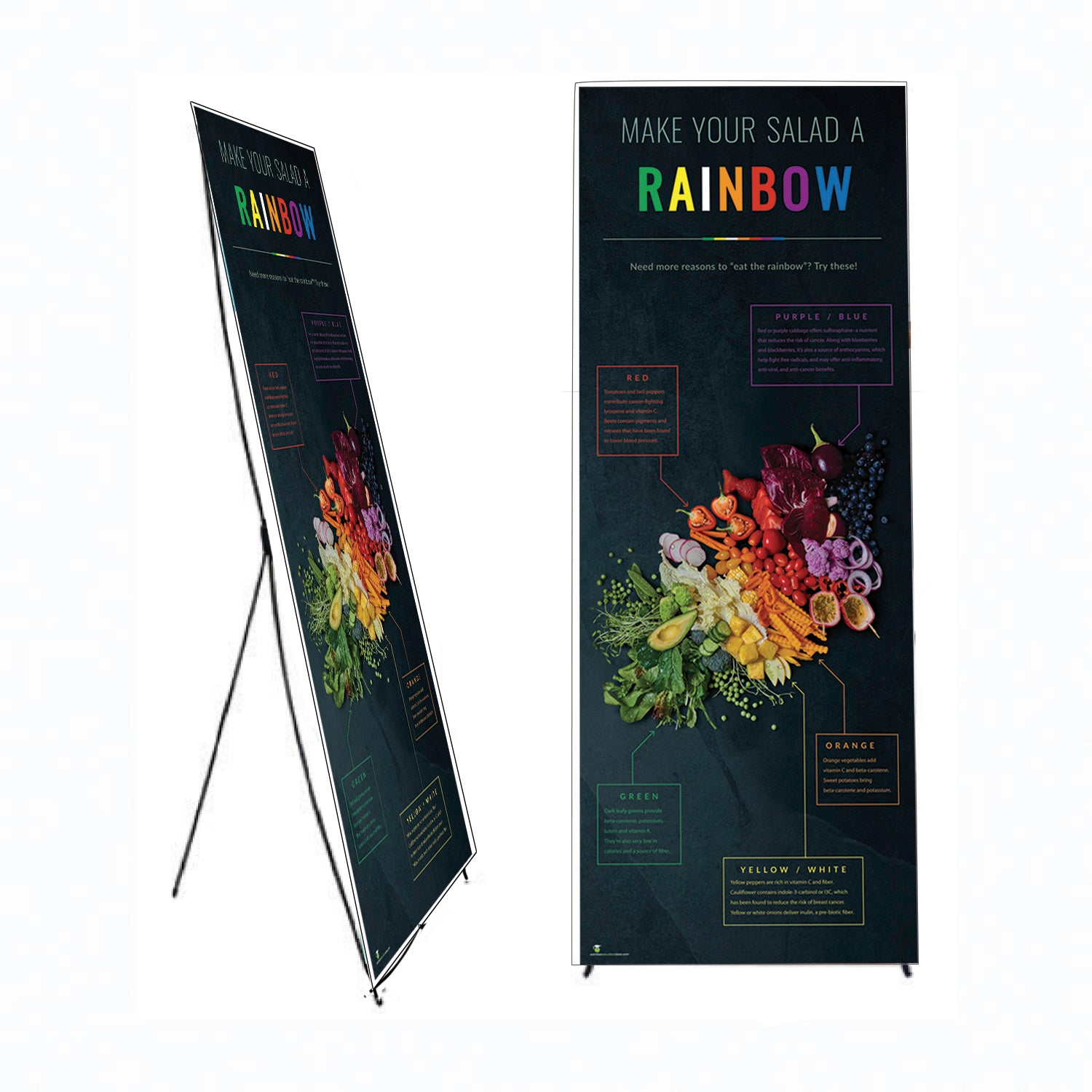 "Dark Photo Eat From the Rainbow Banner Stand 24"" X 62"" - Wellness Fair Banner 24"" X 62"" - Nutrition Education Store"