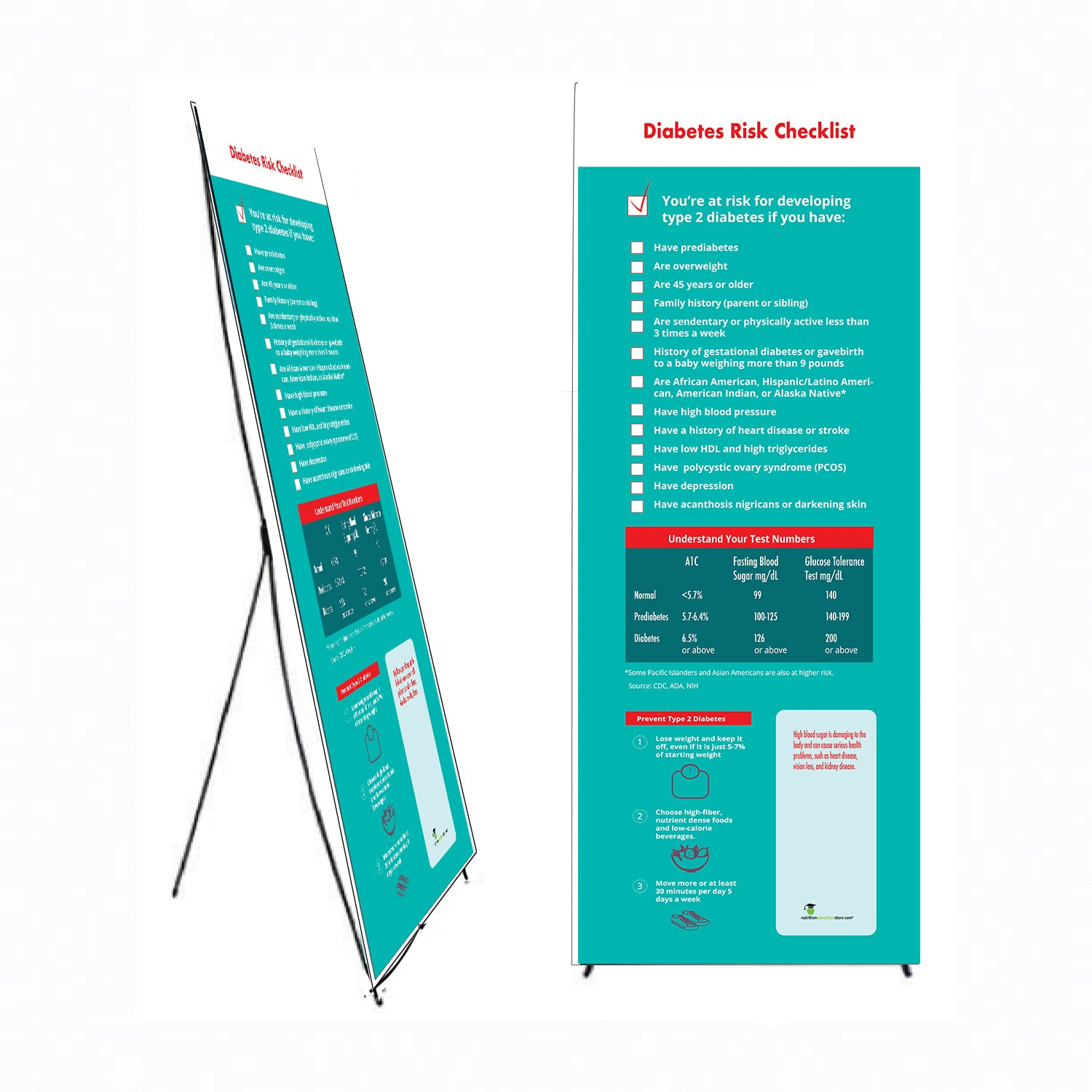 """Custom Diabetes Risk Banner and Banner Stand 24"""" X 62"""" - Add Your Logo To This Health Fair Banner - Nutrition Education Store"""