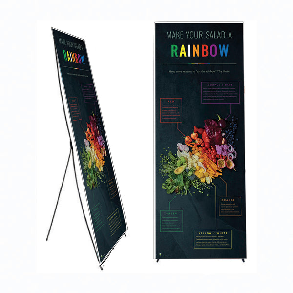 "Dark Photo Eat From the Rainbow Banner Stand 24"" X 62"" - Wellness Fair Banner 24"" X 62"""
