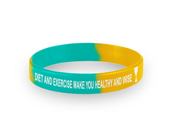 Youth Blue and Yellow Diet & Exercise Wristbands Packs of 20 - Nutrition Education Store