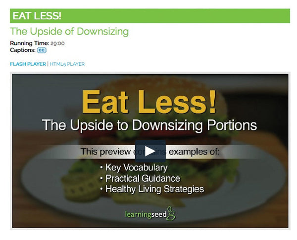 Eat Less Portion Control Video on DVD Nutrition Education DVD