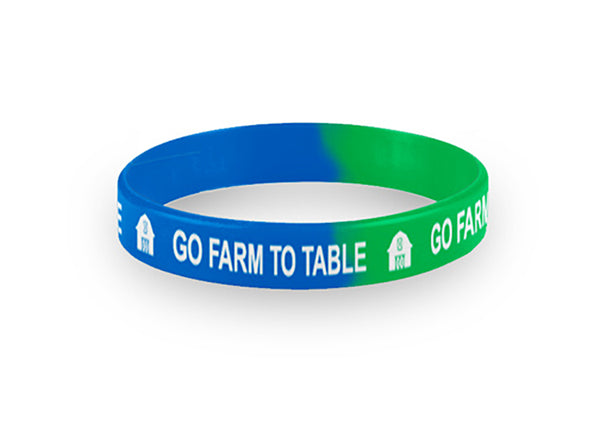 Adult Blue and Green Go Farm to Table Wristbands Packs of 20
