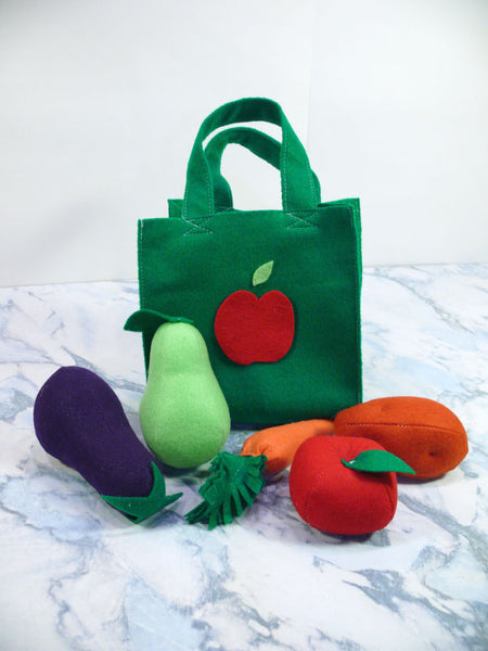 Kids Fruit and Vegetable Activity Set - Felt Vegetable Shopping Set