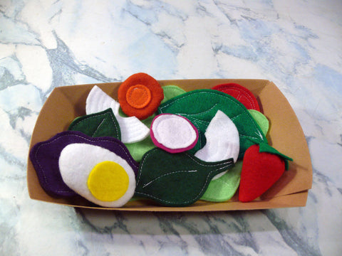 Kids Fruit and Vegetable Activity Set - Felt Salad Set - Nutrition Education Store