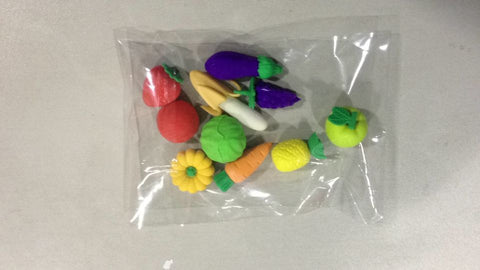 Fruit-Shaped Erasers - Pack of 10