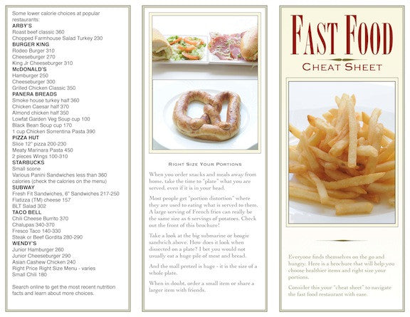 Fast Food Cheat Sheet Brochure - Packets of 25 - Nutrition Education Store