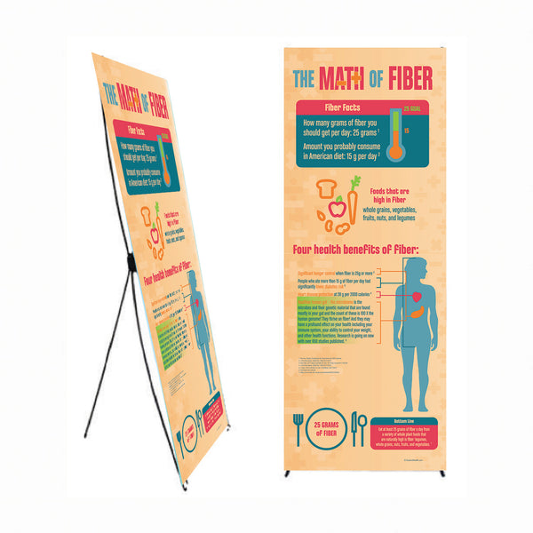"The Math of Fiber 24"" x 62"" Banner with Banner Stand - Health Fair Banner - Nutrition Education Store"