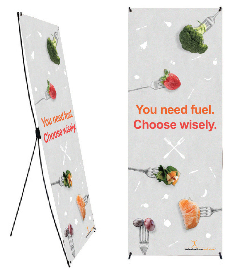 "Custom Choose Wisely Fruits and Vegetables on Forks Banner and Stand 24"" X 62"" - Add Your Logo To This Health Fair Banner - Nutrition Education Store"