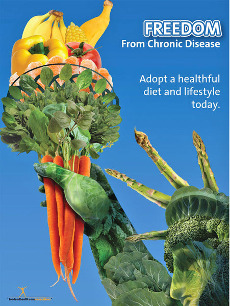 Freedom From Chronic Disease Poster Fruit and Vegetable Promotion With Statue of Liberty