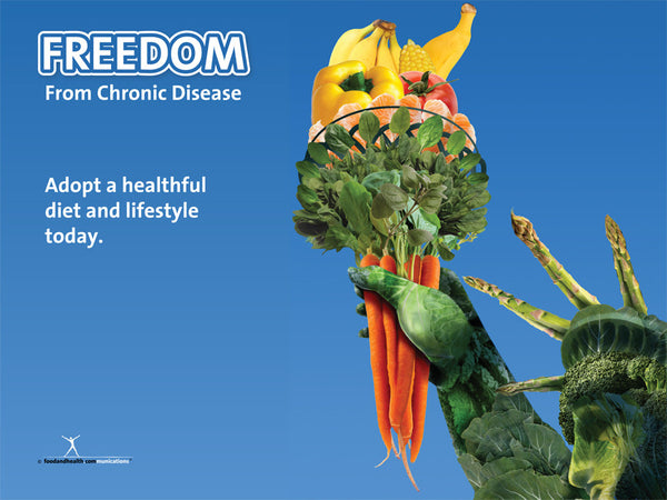 "Custom Freedom from Chronic Disease with Statue of Liberty 48"" X 36"" Vinyl - Add Your Logo To This Health Fair Banner - Nutrition Education Store"