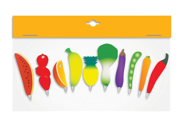 Fruit and Vegetable Shaped Pens - Pack of 10