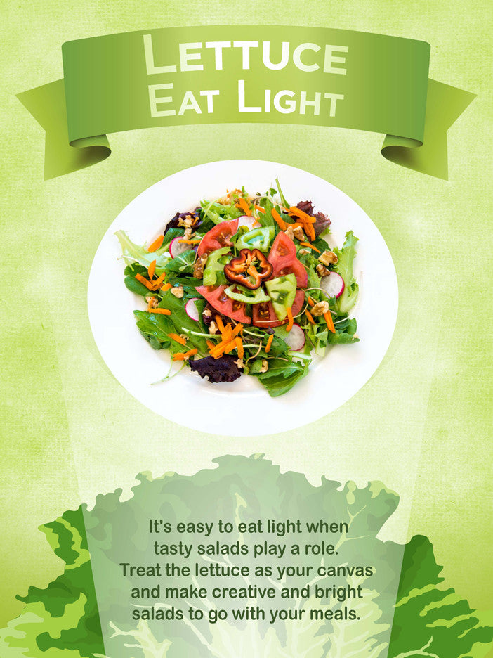 Lettuce Eat Light Vegetable Poster 12X18 - Nutrition Education Store