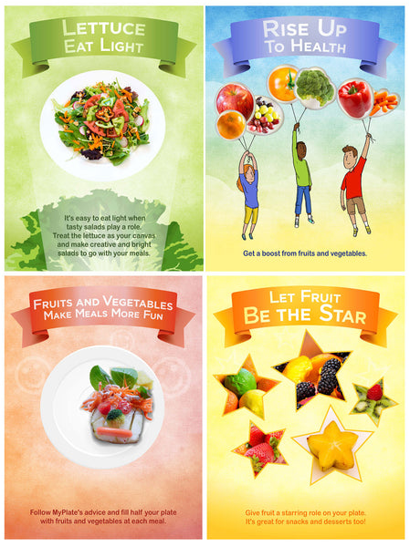 4 Poster Set Fruits and Vegetables Total Display 24X36