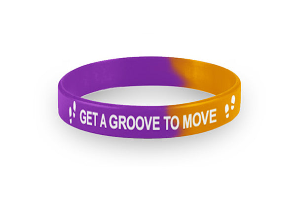 Youth Purple and Orange Get a Groove Wristbands Packs of 20