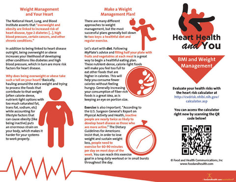 Heart Health Brochure -- BMI and Weight Management - Packet of 25 - Nutrition Education Store