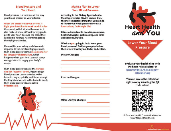 Heart Health Brochure -- Lower Your Blood Pressure - Packet of 25 - Nutrition Education Store