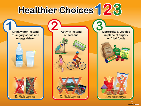 "Custom Healthier Choices 123 Health Fair Wellness Fair Banner 48"" X 36"" - Add Your Logo To This Health Fair Banner - Nutrition Education Store"