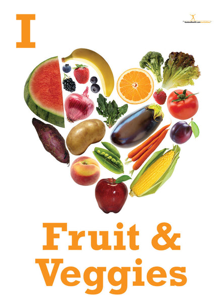 I Heart Fruits and Vegetables Poster - Nutrition Poster - Motivational Poster - Nutrition Education Store