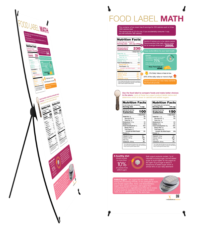"Custom Food Label Math Banner on Banner Stand 24"" x 62"" - Add Your Logo To This Health Fair Banner - Nutrition Education Store"