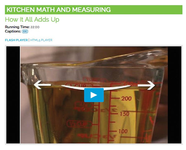 Kitchen Math & Measuring Video on DVD