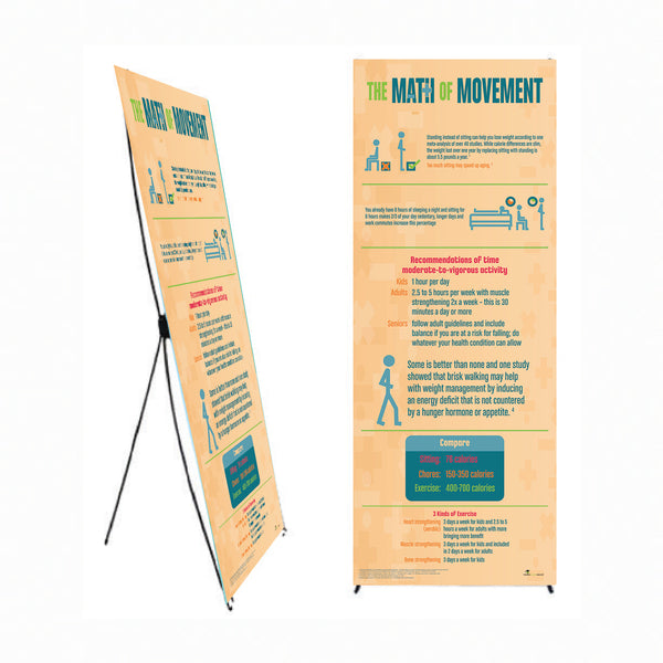 "Math of Movement 24"" x 62"" Banner and Banner Stand - Exercise Banner - Health Fair Banner"