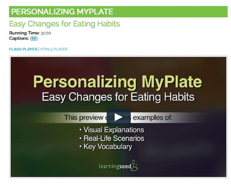 MyPlate DVD - MyPlate Video Nutrition Education DVD - Nutrition Education Store