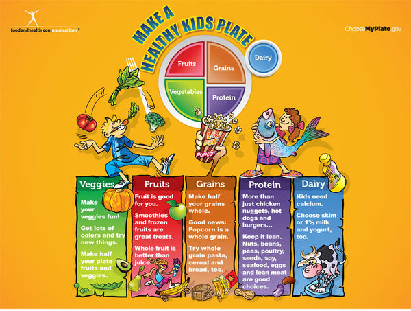 Custom My Plate Kids Banner - Health Fair Banner Featuring Choose MyPlate 48X36 - Add Your Logo To This Health Fair Banner - Nutrition Education Store