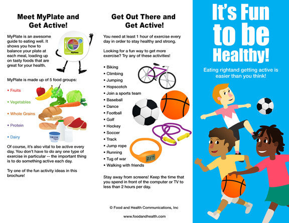 Kids MyPlate and Physical Activity Brochure - Packet of 25 - Nutrition Education Store
