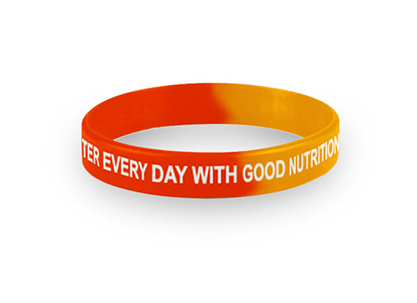 Youth- Red and Gold Good Nutrition Wristbands Packs of 20 - Nutrition Education Store