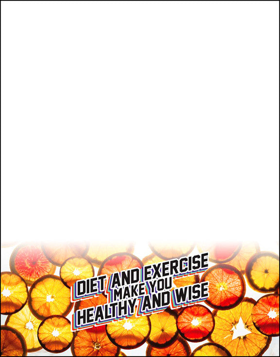 "Diet and Exercise Make You Healthy And Wise Orange ""Coin"" Notepads Pack of 10 - Nutrition Education Store"