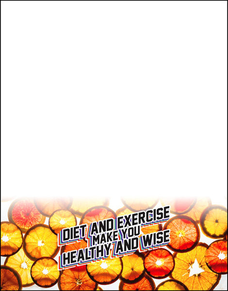 "Diet and Exercise Make You Healthy And Wise Orange ""Coin"" Notepads Pack of 10"