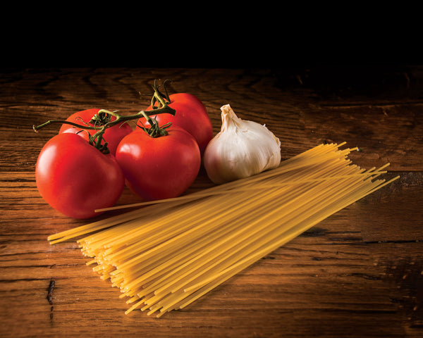 "Art Print 20"" x 16"" Food Photograph ""Pasta, Tomatoes, Garlic Still Life"" on Canvas Foam Board Ready to Hang"