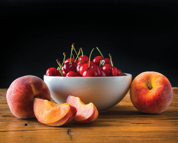 "Art Print 20"" x 16"" Food Photograph ""Cherries and Peaches Still Life"" on Canvas Foam Board Ready to Hang"