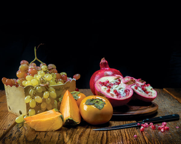 "Art Print 20"" x 16"" Food Photograph ""Persimmons, Pomegranates, Grapes Still Life"" on Canvas Foam Board Ready to Hang"