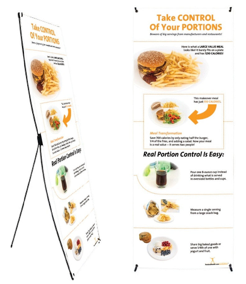 "Custom Portion Control Banner and Stand 24"" X 62"" - Add Your Logo To This Health Fair Banner - Nutrition Education Store"